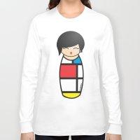 mondrian Long Sleeve T-shirts featuring Kokeshi Mondrian by Pendientera