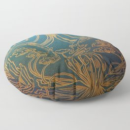 Art Nouveau,teal and gold Floor Pillow