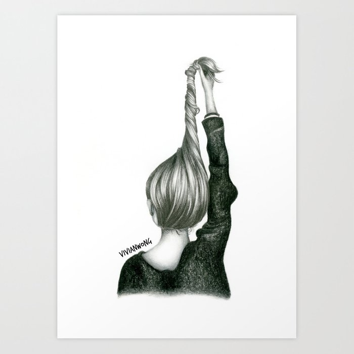 Black white pencil sketch twisted hairstyle updo art print