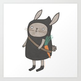 Sticker / Ninja Bunny Art Print