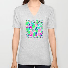 Bubble pink & green Unisex V-Neck