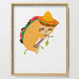 Tacos And Chill Mexican Taco Sloth Cinco De Mayo Serving Tray