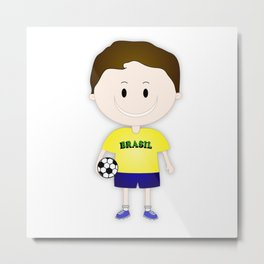 Football Copa Boy Brazil 2014 Metal Print