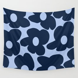 Large Dark Blue Retro Flowers Baby Blue Background #decor #society6 #buyart Wall Tapestry