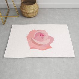 Pink Rose Illustration Rug
