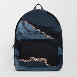 Exotic Ebony Black, Steel Blue-Gray Gold Vein Marble Backpack