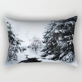 Snowy pond and trees disappearing in fog Rectangular Pillow