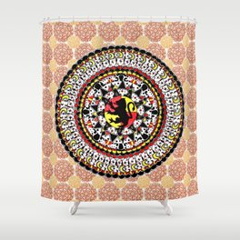 Gryffindor Orange and Maroon Mandala Shower Curtain
