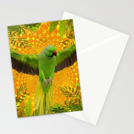 MAGNIFICENT GREEN PARROT GOLD JUNGLE MODERN ART Stationery Cards