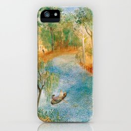 Idyllic Paradise, Two Streams Converging )Río Bravo del Norte) landscape painting by O. Sachoroff iPhone Case