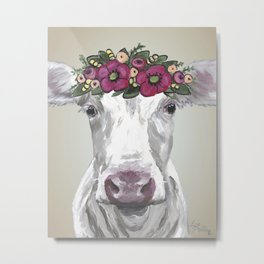 Flower Crown Cow, Cute Cow Art, Farm Animal Painting Metal Print
