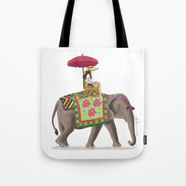 Woman on Elephant Tote Bag