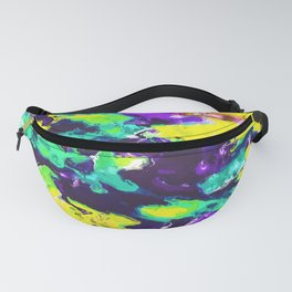 psychedelic splash painting abstract texture in yellow blue green purple Fanny Pack