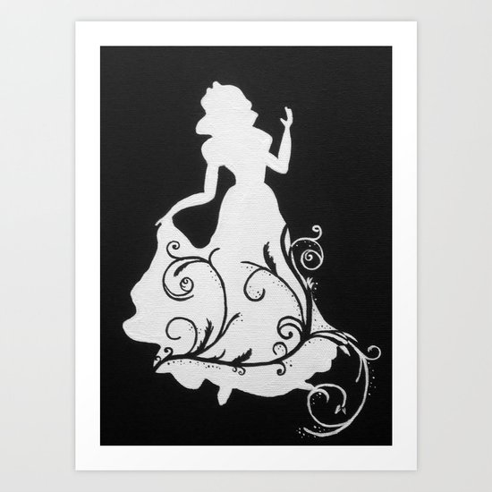 Black and white snow white silhouette art print by dacynpoe society6