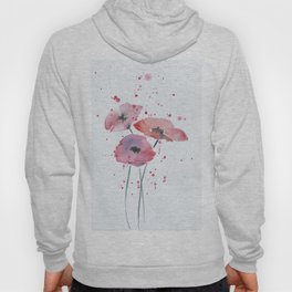 Red poppy flowers watercolor painting Hoody