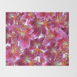 Extra stargazer lily Throw Blanket