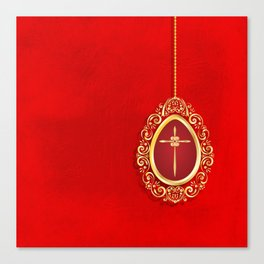 Beautiful red egg with gold cross on rich vibrant texture Canvas Print