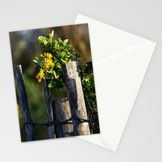 Yellow flower and wood fence Stationery Cards