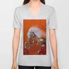 Steampunk, wonderful wild steampunk horse Unisex V-Neck