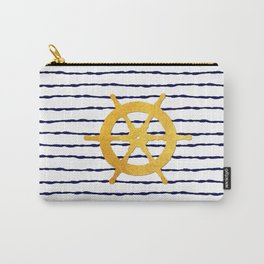 Marine pattern- Navy blue white striped with golden wheel Carry-All Pouch