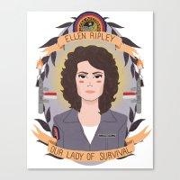 ripley Canvas Prints featuring Ellen Ripley by heymonster
