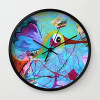 hemingway Wall Clocks featuring Hemingway - Quirky Bird Series by Hyla Zest