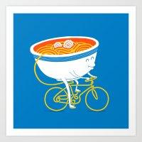 ramen Art Prints featuring GoGo Ramen by mogumogu