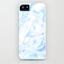 White Marble with Pastel Blue Purple Teal Glitter iPhone Case