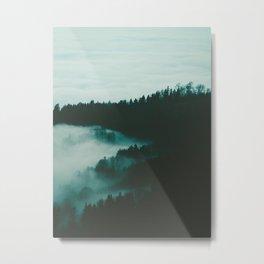 Fog Meets Hills Metal Print