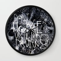drunk Wall Clocks featuring Drunk by Jude's