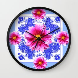 Abstracted Blue Art Fuchsia Dahlias Geometric Stylized Floral Wall Clock