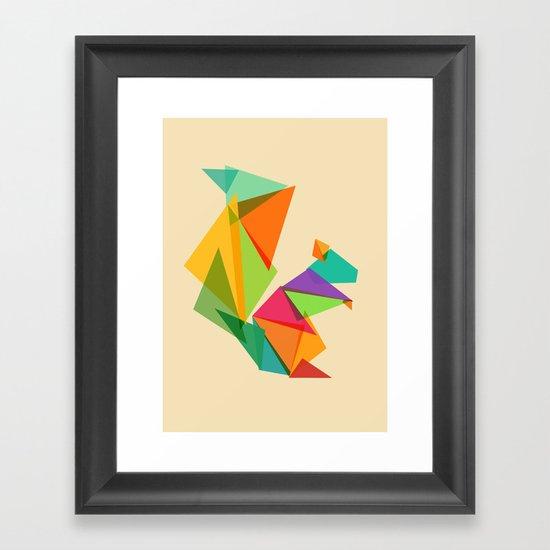 Fractal geometric Squirrel Framed Art Print