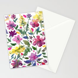 Tranquil Purple Pink and Yellow Watercolor Florals Stationery Cards