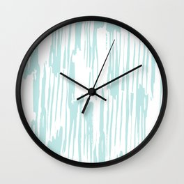 Bamboo Stripe White on Succulent Blue Wall Clock
