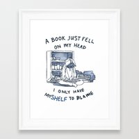pun Framed Art Prints featuring Book Pun by Velocesmells