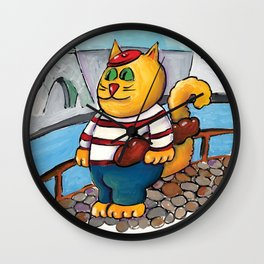 French Cat Wall Clock
