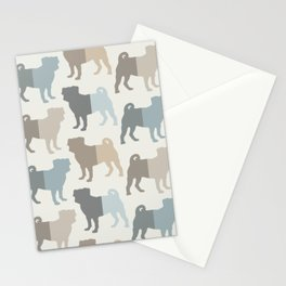 Pugs Pattern - Natural Colors Stationery Cards