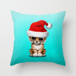 Christmas Tiger Wearing a Santa Hat Throw Pillow