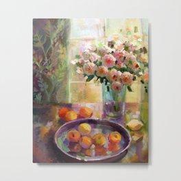 Peach Roses Metal Print