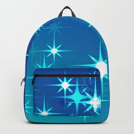 Abstract northern stars and shine on blue sky. Backpack