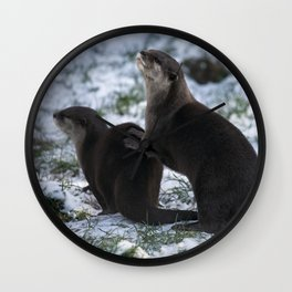 Otters In The Snow Wall Clock