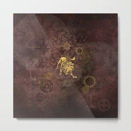 Steampunk Zodiac Leo Metal Print