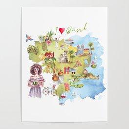 Brasil Map Poster