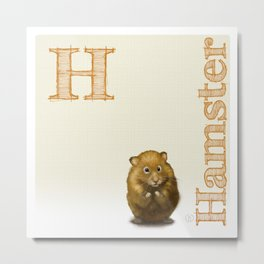 H is for Hamster Metal Print