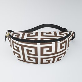 Dark Brown and White Greek Key Pattern Fanny Pack