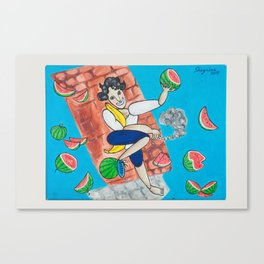 Nicola and the watermelons Canvas Print