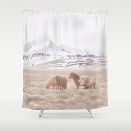 WILD AND FREE 3 - HORSES OF ICELAND Shower Curtain