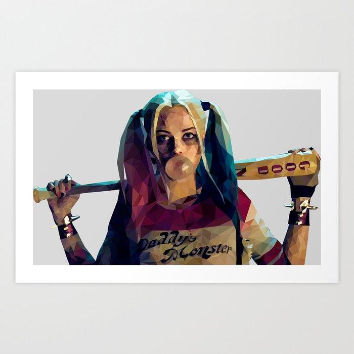 Daddy's Monster - Harley Quinn Low Poly Art Art Print by maximumartartist