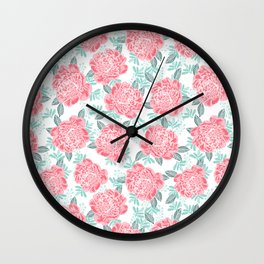 Peony flowers white pink and green trendy girly floral bouquet painted flowers botanical pattern Wall Clock