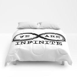 We are infinite. (Version 3, in black) Comforters